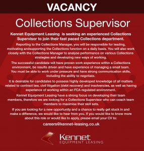 Collections Supervisor - Job Advert - Kennet Leasing